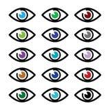 Het oog kleurt geplaatste gezichtspictogrammen - geplaatste pictogrammen Stock Fotografie