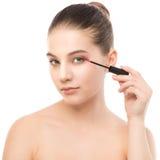Het oog maakt omhoog van toepassing zijn De mascara die close-up toepassen, snakt zwepen Make-upborstel Geïsoleerde Stock Afbeeldingen