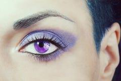 Het oog? mooi jong blauw oog van de vrouw Stock Afbeelding