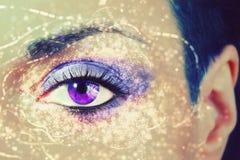 Het oog? mooi jong blauw oog van de vrouw Royalty-vrije Stock Foto