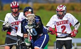 Het oog van de lacrosse op de bal stock afbeeldingen