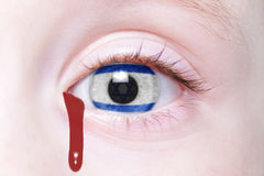 Het oog van de mens met vlag van Israël met bloedige scheuren Royalty-vrije Stock Foto