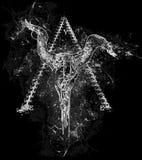 Het oog van de schedelontwerp van de illuminatistier op abstracte piramideachtergrond die wordt omgekeerd Royalty-vrije Stock Foto's