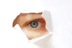 Het oog van de spion stock afbeeldingen