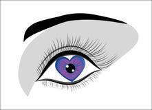 Het oog van de vrouw met liefdehart. stock illustratie