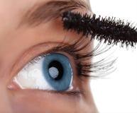Het oog van de vrouw met mascaraborstel Stock Foto's