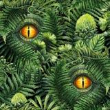 Het oog van de waterverfdinosaurus en voorhistorische installaties Stock Afbeeldingen