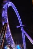Het Oog van Londen bij nacht Stock Foto
