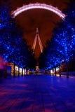 Het Oog van Londen bij nacht Stock Afbeelding