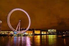 Het Oog van Londen bij nacht Royalty-vrije Stock Foto's