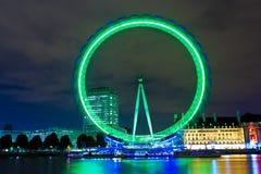 Het oog van Londen dat bij nacht wordt verlicht Royalty-vrije Stock Foto