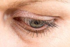 Het oogmacro van de middenleeftijdsvrouw Stock Afbeelding