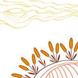 Het oogsten achtergrond Hand getrokken tarwe op het gebied royalty-vrije illustratie