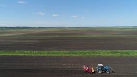 Het oogsten van aardappels op het gebied stock footage