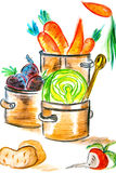 Het oogsten van groenten voor diner Stock Foto