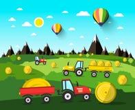 Het oogsten van Vectorlandschap met Hay Balls Stock Fotografie