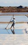Het oogsten van zout op zoute gebieden in Nha Trang, Vietnam royalty-vrije stock afbeelding
