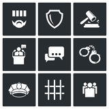 Het oordeel van de hof en opsluiting geplaatste pictogrammen Royalty-vrije Stock Afbeelding