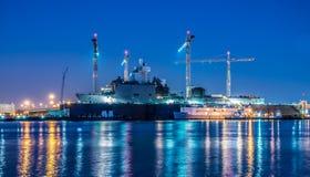Het Oorlogsschip van Verenigde Staten in Drydock Stock Foto