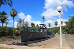 Het oorlogsschip werd teruggetrokken en de Marineverbetering als museumslagschip Stock Foto