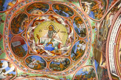 Het oostelijke Orthodoxe Godsdienstige schilderen, pictogram in Bulgaars Rila-klooster, Oostelijk Orthodox klooster, Unesco, Rila Royalty-vrije Stock Foto's