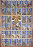 Het oostelijke Orthodoxe Godsdienstige schilderen, pictogram in Bulgaars Rila-klooster, Oostelijk Orthodox klooster, Unesco, Rila Royalty-vrije Stock Fotografie