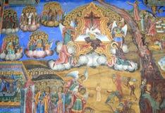 Het oostelijke Orthodoxe Godsdienstige schilderen, pictogram in Bulgaars Rila-klooster, Oostelijk Orthodox klooster, Unesco, Rila Stock Foto