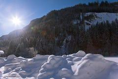 Het Oostenrijkse landschap van de winter stock fotografie