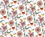 Het oosterse Bloemen en Patroon van Vogels Royalty-vrije Stock Foto