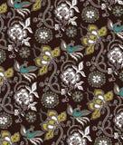 Het oosterse Bloemen en Patroon van Vogels Royalty-vrije Stock Afbeeldingen