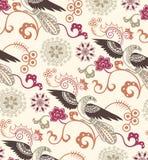 Het oosterse Bloemen en Patroon van Vogels Stock Foto