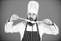 Het op dieet zijn en natuurvoeding, vitamine Chef-kokmens in hoed Geheim smaakrecept Gebaarde mensenkok in culinaire keuken, Gezo royalty-vrije stock afbeelding