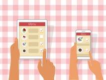 Het opdracht geven van tot voedsel die gadgets gebruiken Royalty-vrije Stock Afbeelding