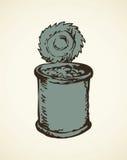 Het open Blik van het Tin Vector tekening Stock Foto's