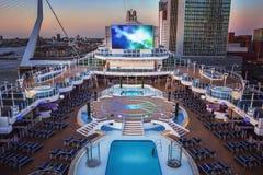 Het open dek van het cruiseschip Stock Foto's