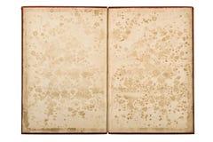 Het open oude boek isoleerde Document pagina'svlekken Royalty-vrije Stock Afbeelding