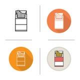 Het open pictogram van het sigaretpak vector illustratie
