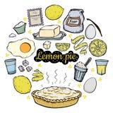 Het open recept van de citroenpastei royalty-vrije illustratie