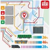 Het openbare vervoer leidt vectorinfographics vlak malplaatje van postenstatistieken stock illustratie
