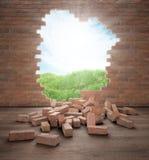 Het openen in een bakstenen muur Stock Afbeeldingen