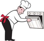 Het Openen van Baker Cook van de Chef-kok van het beeldverhaal Oven Royalty-vrije Stock Afbeelding