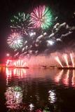 Het openen van de festivalcirkel van Licht 2015 begroeting Vuurwerk Stock Foto's