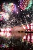 Het openen van de festivalcirkel van Licht 2015 begroeting Vuurwerk Royalty-vrije Stock Afbeeldingen