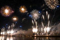 Het openen van de festivalcirkel van Licht 2015 begroeting Vuurwerk Royalty-vrije Stock Afbeelding