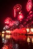 Het openen van de festivalcirkel van Licht 2015 begroeting Vuurwerk Stock Fotografie