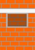 Het openen van een venster in een bakstenen muur. royalty-vrije illustratie