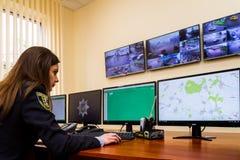 Het openen van het moderne situatiecentrum van de Nationale Politie van royalty-vrije stock afbeeldingen