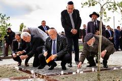 Het openen van het monument voor lokale slachtoffers van de Holocaust in Uzhgorod Royalty-vrije Stock Foto