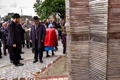Het openen van het monument voor lokale slachtoffers van de Holocaust in Uzhgorod Royalty-vrije Stock Afbeelding