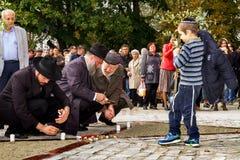 Het openen van het monument voor lokale slachtoffers van de Holocaust in Uzhgorod Royalty-vrije Stock Foto's